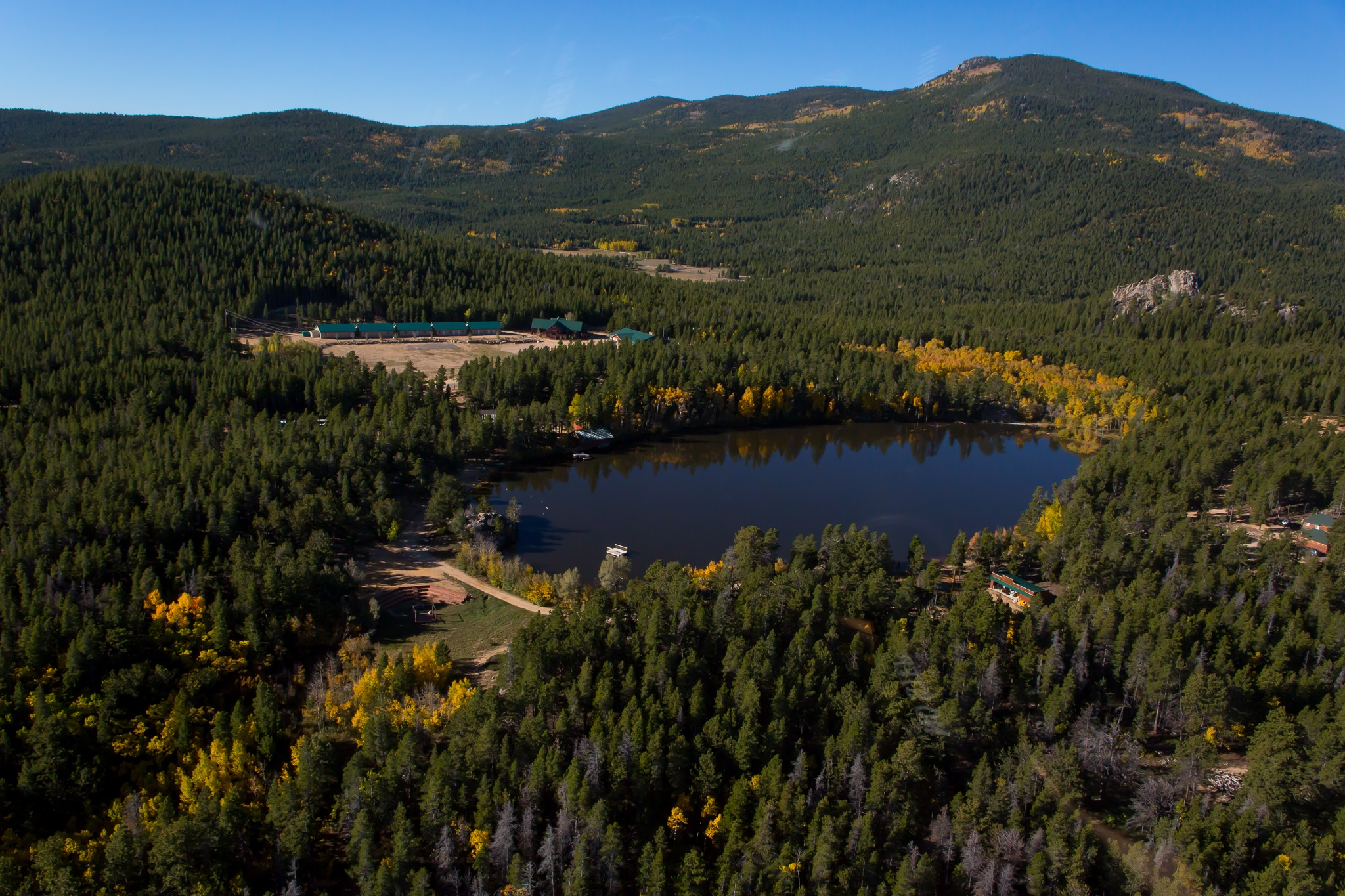 Image of aerial helicopter photo of Camp Granite Lake